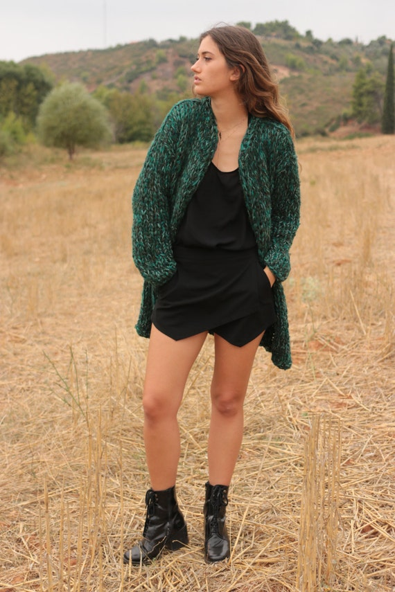 Long chunky cardigan forest green long sweater chunky knit