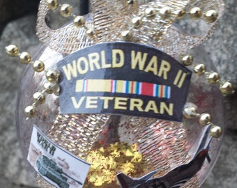 WW2 Veteran Christmas Ornament - US Military - World War II - Cap with Bars (WWII)