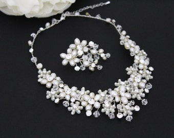 Pearl Bridal necklace SET, Crystal Wedding jewelry, Freshwater pearl necklace, Swarovski crystal necklace, Pearl cluster earrings,