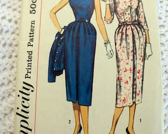 1957 Simplicity 1951 Vintage Sewing Pattern- Ladies Sheath Dress Size 18  Bust 38 INCOMPLETE