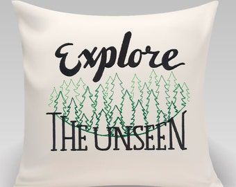 Explore the unseen//typography//decorative embroidered pillow cover//16x16