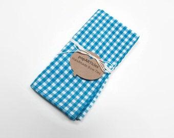 Blue Gingham Pocket Square - Bright Blue Pocket Square - Cyan Pocket Square - Gingham Pocket Square