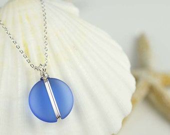 Blue sea glass pendant wire wrapped sea glass necklace wire wrapped pendant blue beach glass sea glass jewelry seaglass beach wedding gifts