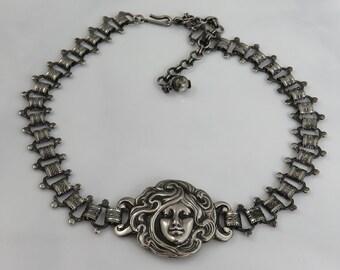 Antique Silver Art Nouveau Choker Necklace 1900's