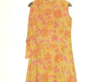 Vintage Floral Dress, Sleeveless Dress, Pastel 60's Dress, Spring Floral Dress, Pink & Yellow Flower On Beige Background, A-line, Finland