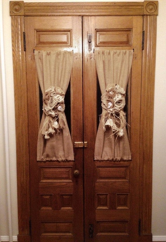 rustic french door panel flowers tie back french by myburlapstudio. Black Bedroom Furniture Sets. Home Design Ideas