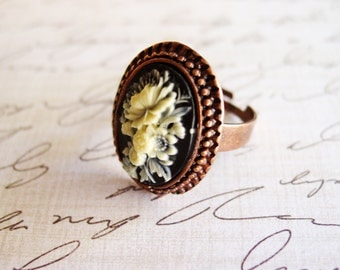 Jet Black Floral Cameo Ring, Copper Framed Black and Ivory Silhouette Adjustable Ring, Vintage Inspired Cameo Ring