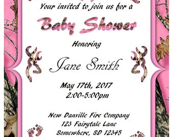 Girl Pink Camo Baby Shower Invitations