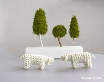 Hand Knitted sheep. Lamb.- 1 pcs, waldorf toys. stufed toys. farm animal toys for playscape. nursing decor