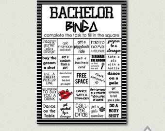 Bachelor Bingo, Bachelor Party Game, Bachelor Bar Bingo, Groom Bingo Challenge, Printable PDF, Printable Bingo Cards, Printable Game