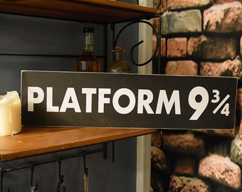 "Platform 9 3/4  22"" x 5.5""  Wooden Sign Harry Potter"