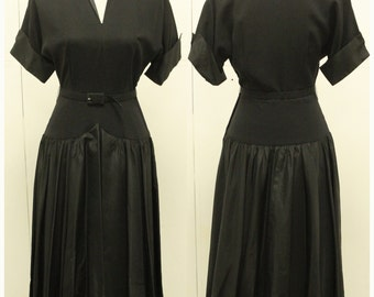 "BEAUTIFUL 1950's ""Murray White of Boston"" - Drop Waist Full Skirt Dress - New Look  - Mad Men - VLV  - Size S"