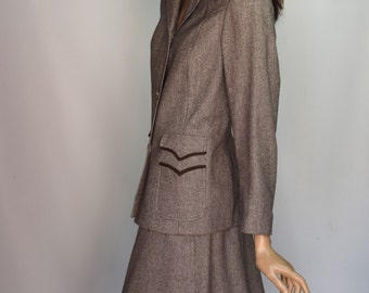 Elgee Of London Taupe Brown Houndstooth Wool Blend Western Style Skirt Suit