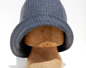 Pinstripe 1920s inspired wool cloche|Handmade cloche hat|asymmetric hat| Flapper style cloche|Designer ZUTmanon in vintage French fabric