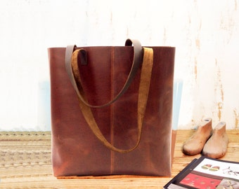 Sale!!! Sturdy leather tote bag Brown Leather Basket bag Tote Handmade bag