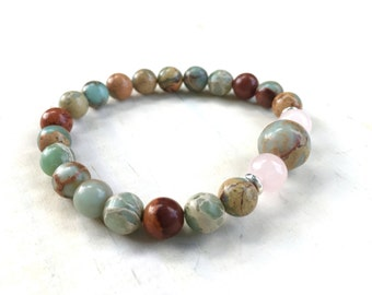 African Opal Bracelet, Bohemian Style Bracelet, Healing Gemstone Jewelry, Matching Mala Bracelet, Yoga Style Jewelry, Mala Inspired