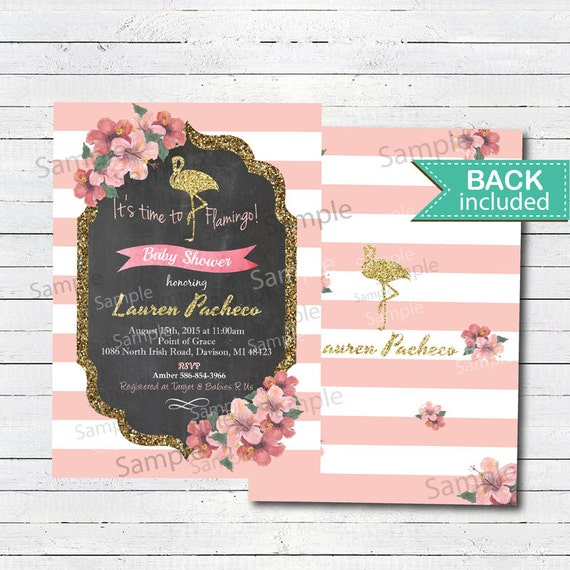 flamingo baby shower invitation baby girl shower invitation