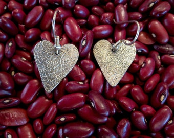 Heart Shaped Leaf Textured Fine Silver Earrings