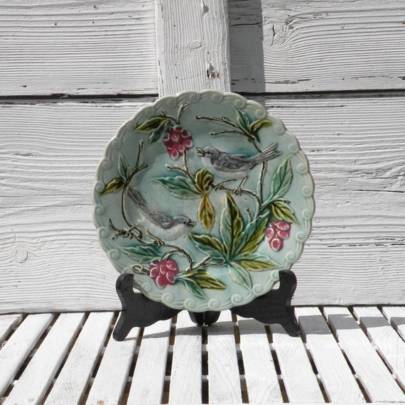 French antique majolica bird plate, barbotine wall plate, antique plate, French antique, French vintage, cottage chic, country home