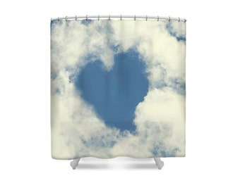 Bathroom Decor, Shower Curtain, Blue and White, Heart Decor, Cloud Decor, Love Decor, Romantic Gift, Gift for Her, Gift for Women