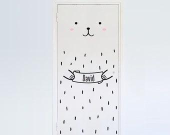 Haru the Custom Bear Door decal / Wall decal for doors, windows or closets / Nursery decor / Bear Vinyl Sticker