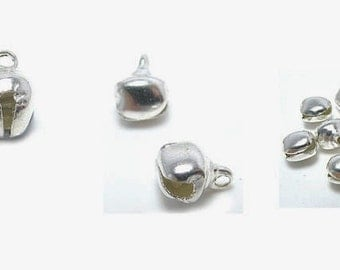 8 mm Silver Plated  Tinkling Bells  20 piece