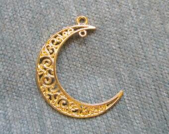 Golden Crescent Moon Pendant