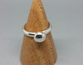 Handmade Sterling Silver Pebble Ring Solid Nugget
