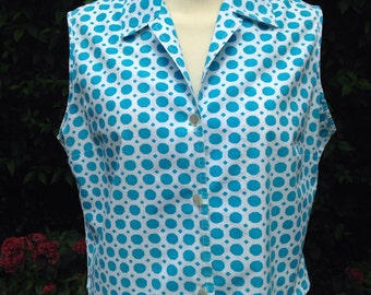 Vintage 1950s/1960s blouse, top in turquoise & white.