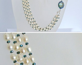 Necklace White Pearl & Teal Crystals, Hand Knotted Pearl Necklace, Pearls on Silk, Infinity Design Long Pearl Necklace, Pearl and Blue