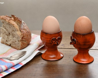 Pair of eggcups ceramic in the form of day-old chicks