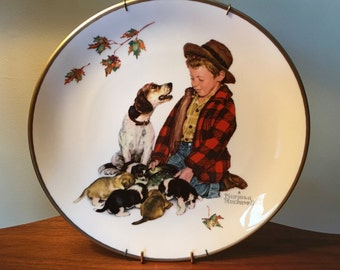 """1971 Norman Rockwell Four Seasons Series """"Fall - Pride of Parenthood"""" by Gorham Fine China"""