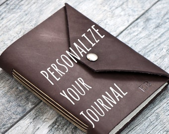 Snap Closure - Personalized Leather Journal with Initials Name Date