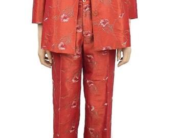 Women's Vintage Suit, Floral Suits, Tangerine embroidery Suit, 1980s Vintage Suits, Silk Suits, Weddings, Women's Clothing, Women's Suits