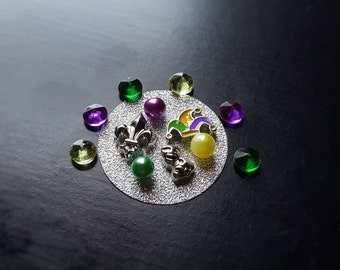 Mardi Gras Floating Charm Set for Floating Lockets-13 Pieces-Fits All Large Floating Lockets-Gift Idea