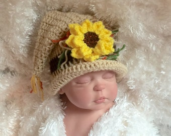 Scarecrow baby hat,thanksgiving hat, harvest baby photo prop, thanksgiving photography, scarecrow outfit,scarecrow costume,scarecrow baby
