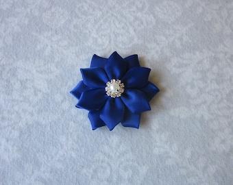Cobalt Blue Satin Flower, Rhinestone, Pearl, Gold or Silver Metal, Hair Clip, Barrette, Brooch, Shoe Clips, Bride, Flower Girl, Bridesmaids