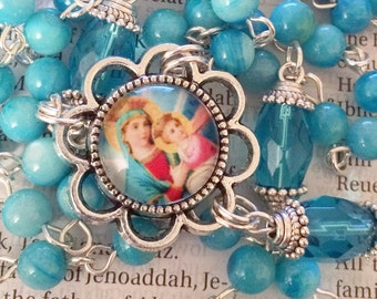 Virgin Mary Rosary Silver Rosary Catholic Rosaries Queen Mother Mary Rosary Confirmation Gift Mothers Day Gift Baby Jesus Rosary