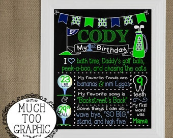 HOLE in ONE Boy's Boys Golf First Birthday CHALKBOARD 1st Cake Smash  Green Navy Argyle Printable Bunting Printables