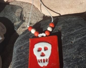 Ceramic skull pendant with cotton necklace (HU003)