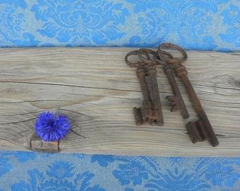 French Vintage Industrial Chic / Rusty Keys/Antique French Keys/Mid-Century farm keys/french countryside