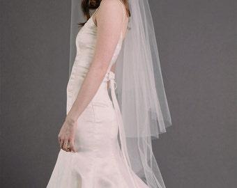 ERIN VEIL | juliet cap veil with blusher, vintage veil, fingertip veil, wedding veil, bridal illusion tulle
