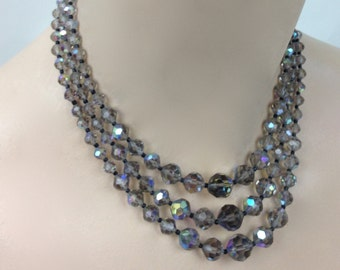 Vintage 1950'S Smokey Aurora Borealis Triple Strand CRYSTAL NECKLACE