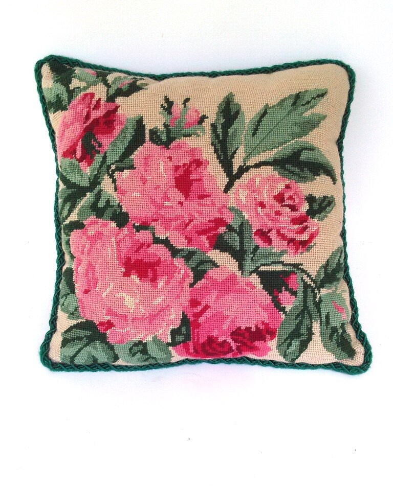Vintage Needlepoint Throw Pillow. Large Pink Roses Velvet