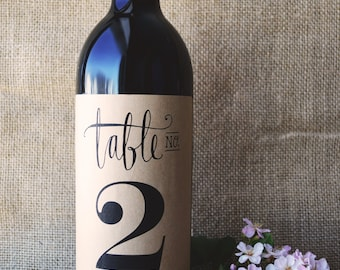 Wine Table Number - Wine Bottle Table Number  - Wedding Wine Table Number - Wedding Wine Bottle Table Number - Pack of 4 Labels