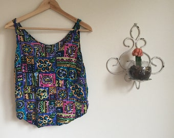 90's Crop Top. 1990's Sleeveless Shirt. Colorful Floral Tank Top. Small. Medium. Paisley.