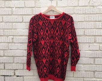 80s Red and Black Sweater. 1980s Patterned Pullover Knit Sweater. Medium.