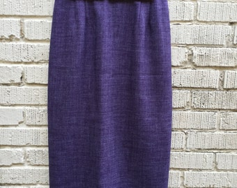 80s Purple Pencil Skirt. 1980s High Waist Size Medium Skirt.
