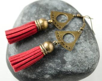 Red earrings, Red dangle earrings, Tassel earrings, Boho earrings, Long dangle earrings, Bohemian earrings, Very long dangle earrings