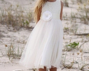 Audrey Tulle White Dress Bridal Flower Girl Communion Wedding Princess Bridal Bridesmaid Dress Flowergirl Dress